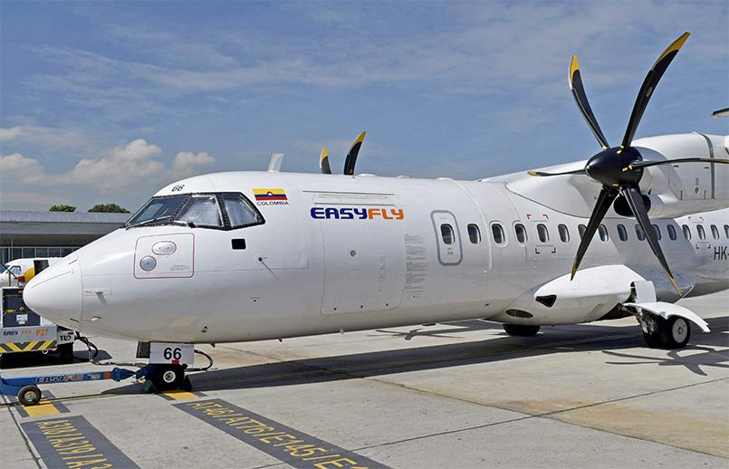 ATR 42-500 de EasyFly en el Terminal Puente Aéreo de Bogotá.