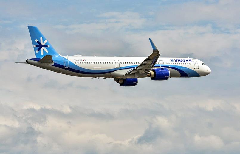 Airbus A321neo de Interjet en vuelo.