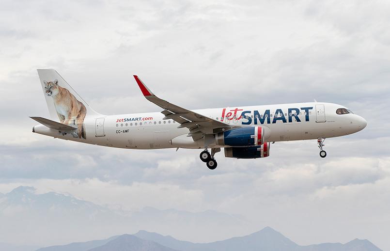 Airbus A320 de JetSmart aterrizando.