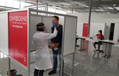 Prueba PCR de Lufthansa en Frankfurt.