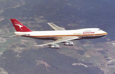 Boeing 747-200 de Qantas en vuelo.