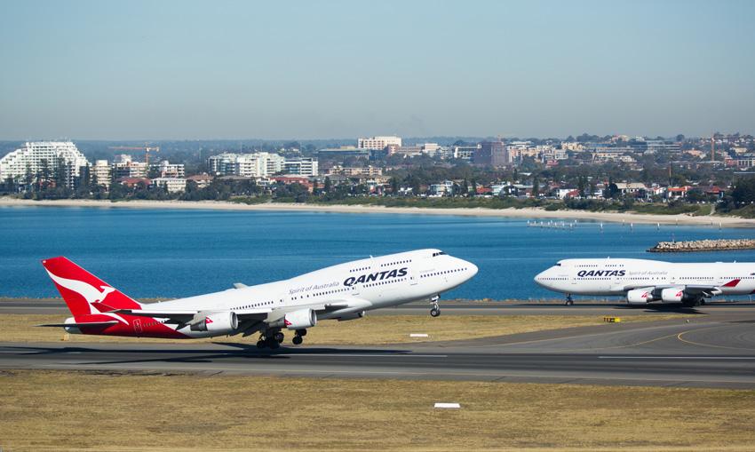 Boeing 747-400 de Qantas en Sídney.