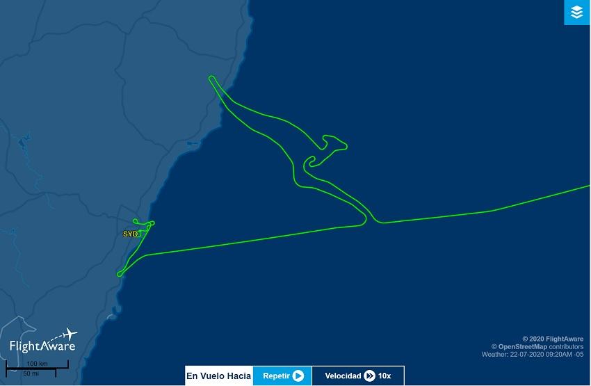 Silueta de un canguro trazada por un Boeing 747 de Qantas.