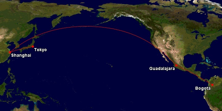 Ruta del vuelo entre Bogotá y Shanghái de Avianca.
