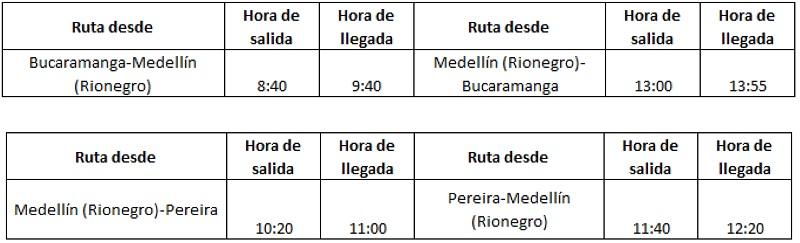 Itinerario de EasyFly de Medellín a Bucaramanga y Pereira.