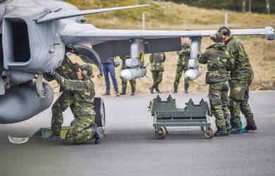 Operaciones desplegadas del Gripen con la Fuerza Aérea Sueca.