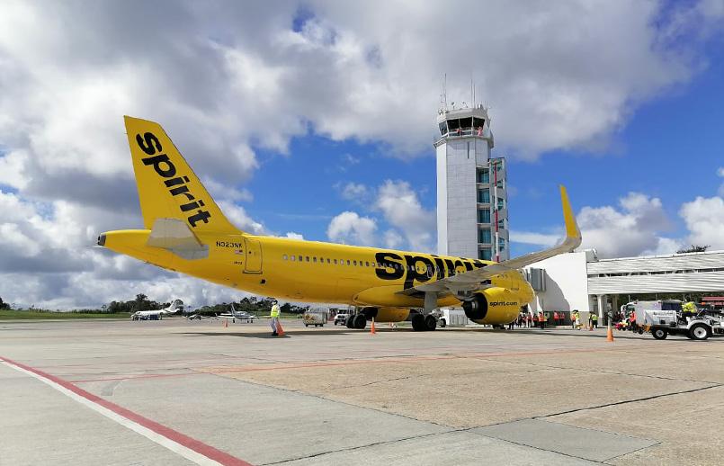 Airbus A320 de Spirit Airlines en el aeropuerto Palonegro de Bucaramanga.