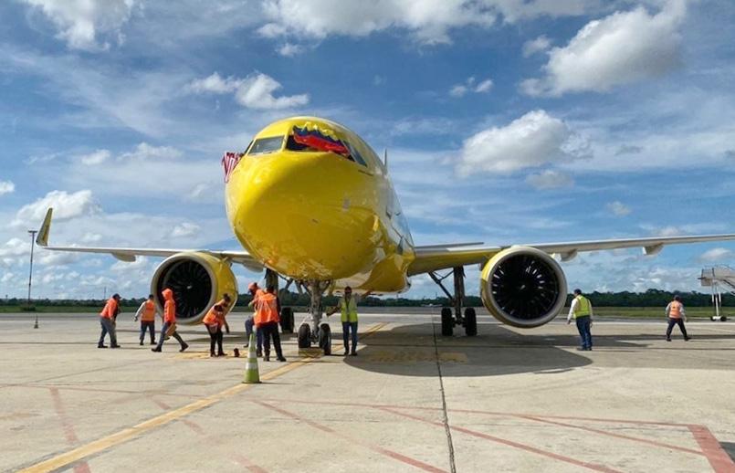 Airbus A320neo de Spirit Airlines en el aeropuerto Ernesto Cortissoz de Barranquilla.