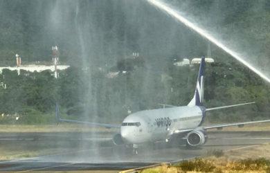 Bautizo al vuelo inaugural de Wingo entre Bogotá y Santa Marta.
