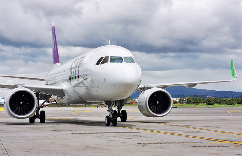 Airbus A320 de SKY Airline en su vuelo inaugural a Bogotá.