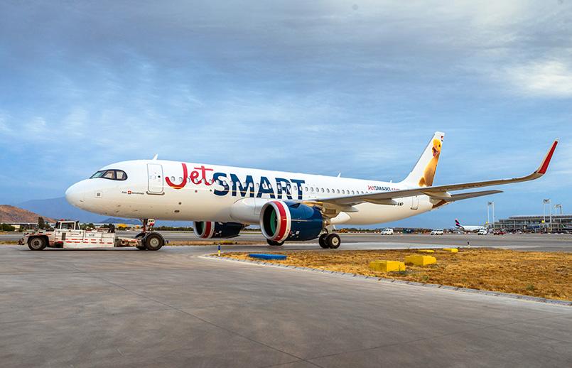 Airbus A320neo de JetSmart en Santiago de Chile.