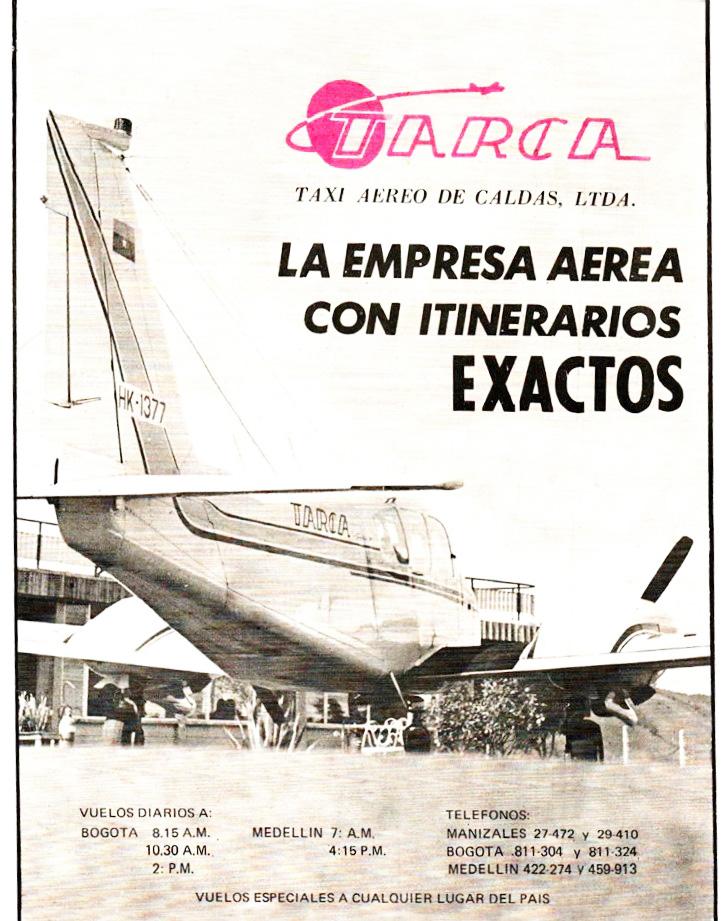 Publicidad del Taxi Aéreo de Caldas (TARCA).
