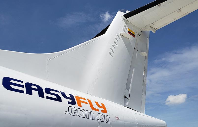 Empenaje de un ATR 42-500 de EasyFly.