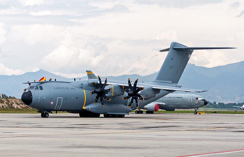 Airbus A400M del Ejército del Aire de España en su visita a Bogotá.