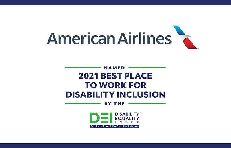 Reconocimiento al índice de igualdad en discapacidad de American Airlines.