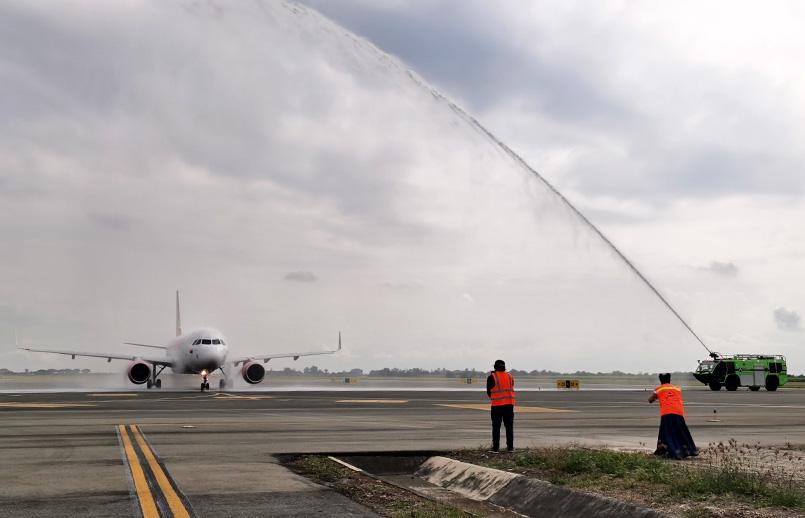 Airbus A320neo de Avianca en su vuelo inaugural a Orlando desde Cali.