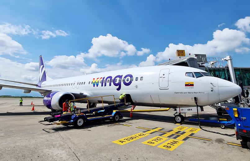 Boeing 737-800 de Wingo en Cali.