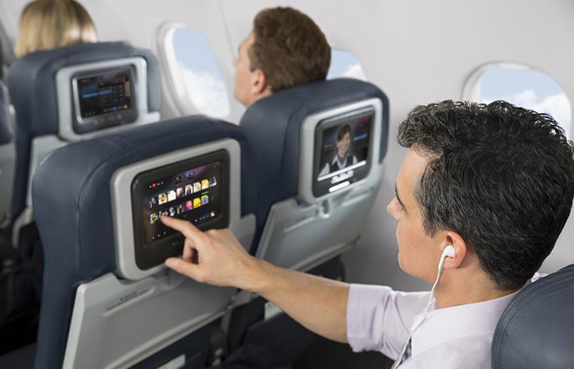 Entretenimiento a bordo de American Airlines.