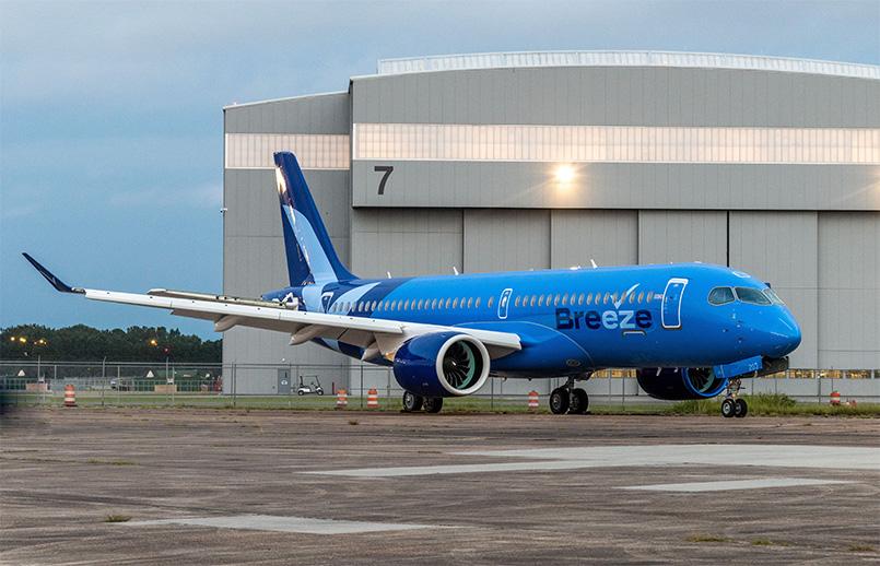 Nueva librea de Breeze Airways en su Airbus A220-300.